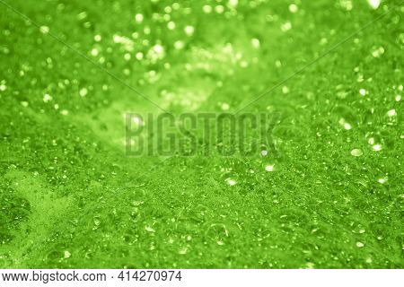 Green Foam. Foam Texture As Background. Background And Texture Concept -- Close Up Of Bubbling Green