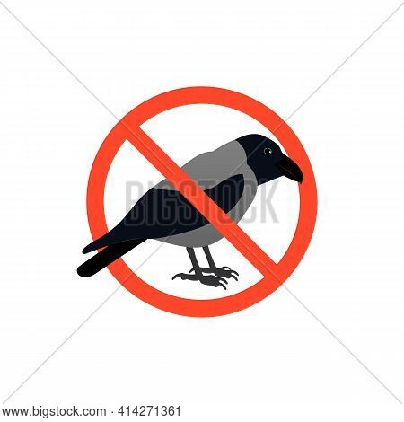 Prohibition Sign With Gray Crow. Isolated On White Background.