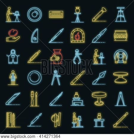 Potters Wheel Icons Set. Outline Set Of Potters Wheel Vector Icons Neon Color On Black