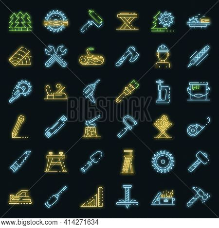 Carpenter Icons Set. Outline Set Of Carpenter Vector Icons Neon Color On Black