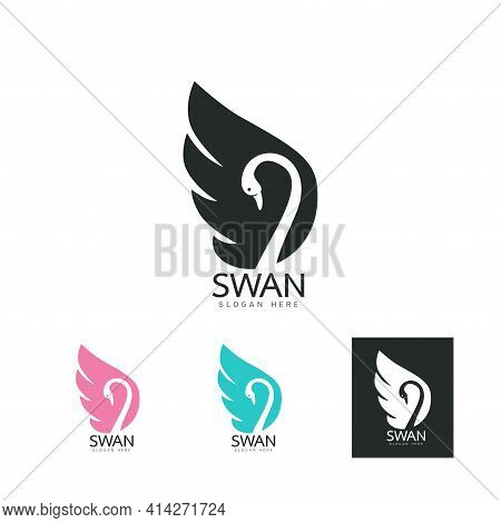 Set Of Beautiful Logo Icon Swan, Stylized Line Art Swan Logo Template, Swan Tattoo, Swan Line Art On