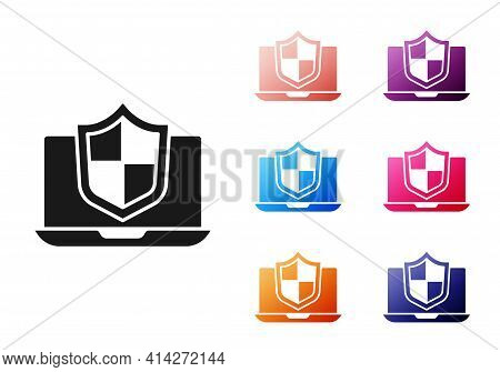 Black Laptop Protected With Shield Icon Isolated On White Background. Pc Security, Firewall Technolo