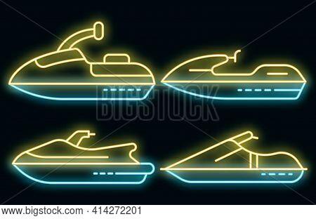 Jet Ski Icons Set. Outline Set Of Jet Ski Vector Icons Neon Color On Black