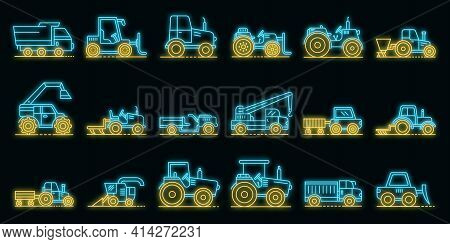 Agricultural Machines Icons Set. Outline Set Of Agricultural Machines Vector Icons Neon Color On Bla