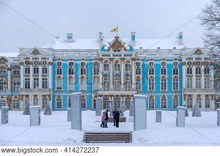 Tsarskoye Selo, Saint-petersburg, Russia - February 16, 2021: Family With Children Walk In The Cathe