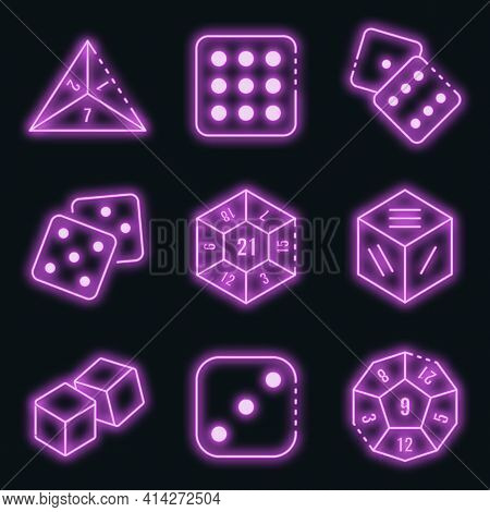 Dice Icons Set. Outline Set Of Dice Vector Icons Neon Color On Black
