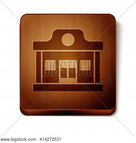 Brown Wild West Saloon Icon Isolated On White Background. Old West Building. Wooden Square Button. V