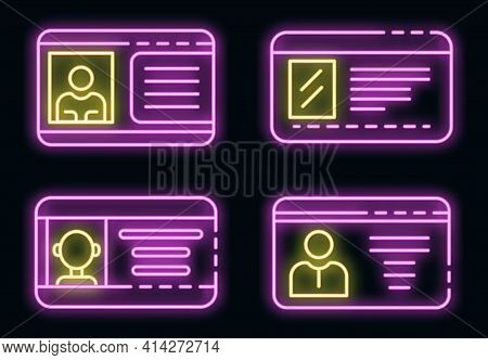 Driver License Icons Set. Outline Set Of Driver License Vector Icons Neon Color On Black