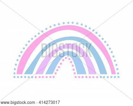 Hand Drawn Colored Minimalist Boho Rainbow With Dots. Boho Nursery Rainbow Print, Children's Element