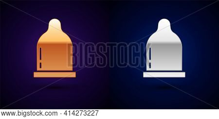 Gold And Silver Condom Icon Isolated On Black Background. Safe Love Symbol. Contraceptive Method For
