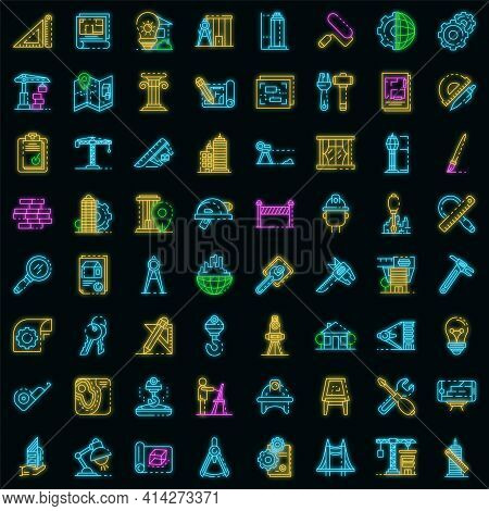 Architect Equipment Icons Set. Outline Set Of Architect Equipment Vector Icons Neon Color On Black