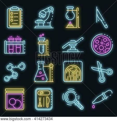 Forensic Laboratory Icons Set. Outline Set Of Forensic Laboratory Vector Icons Neon Color On Black