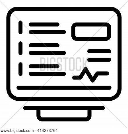 Online Diagnosis Icon. Outline Online Diagnosis Vector Icon For Web Design Isolated On White Backgro