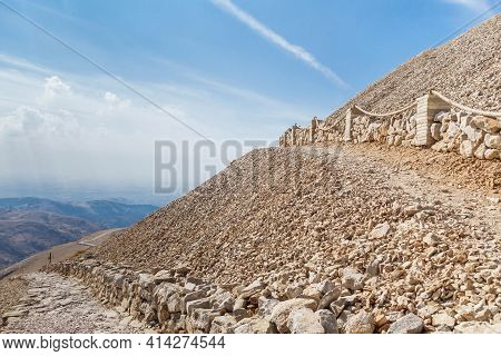 Stone Pathways On Mount Nemrut, Kahta, Turkey. Right Is Leading To Burial Complex Of King Antiochus