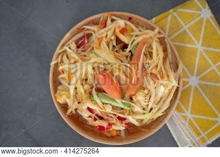 Green Papaya Salad Thai Cuisine Spicy Delicious. Famous Thai Food, Papaya Salad