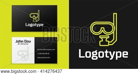 Logotype Line Diving Mask And Snorkel Icon Isolated On Black Background. Extreme Sport. Diving Under