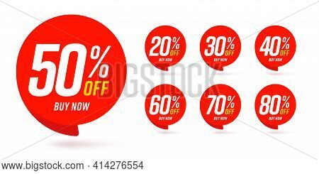 Different Percent Discount Sticker Discount Price Tag Set. Red Round Speech Bubble Shape Promote Buy
