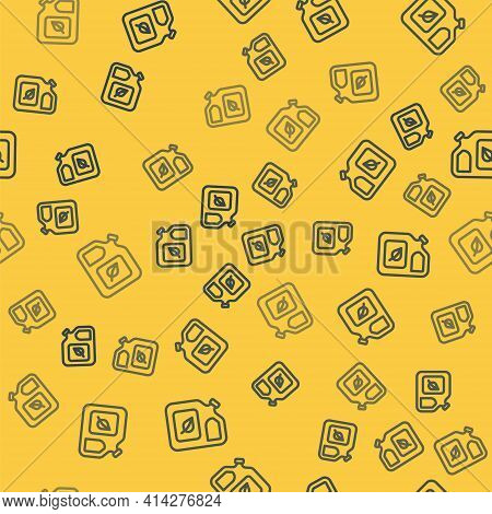 Blue Line Bio Fuel Canister Icon Isolated Seamless Pattern On Yellow Background. Eco Bio And Barrel.