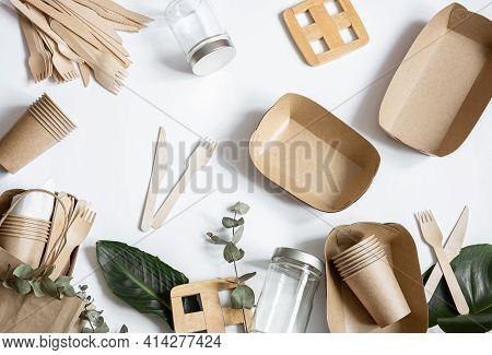 Disposable Environmentally Friendly Tableware. Eco Friendly Disposable Tableware. The Concept Of Sav