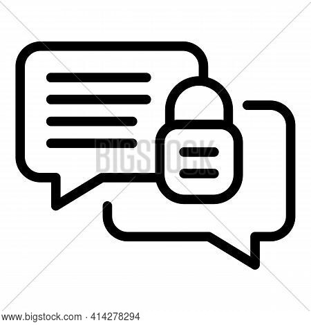 Encrypted Chat Icon. Outline Encrypted Chat Vector Icon For Web Design Isolated On White Background