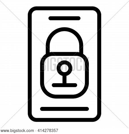 Locked Gadget Icon. Outline Locked Gadget Vector Icon For Web Design Isolated On White Background