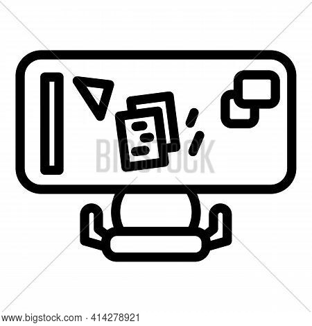 Ergonomic Desktop Icon. Outline Ergonomic Desktop Vector Icon For Web Design Isolated On White Backg
