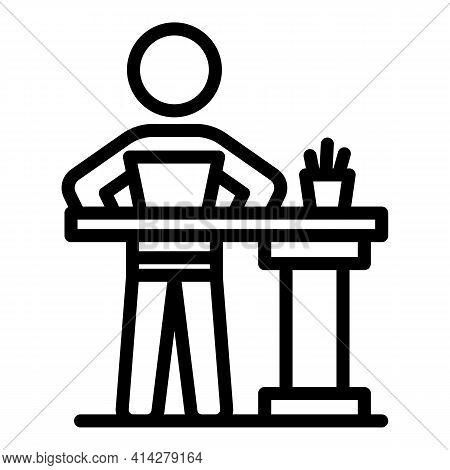 Ergonomic Posture Icon. Outline Ergonomic Posture Vector Icon For Web Design Isolated On White Backg