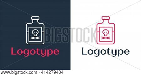Logotype Line Poison In Bottle Icon Isolated On White Background. Bottle Of Poison Or Poisonous Chem