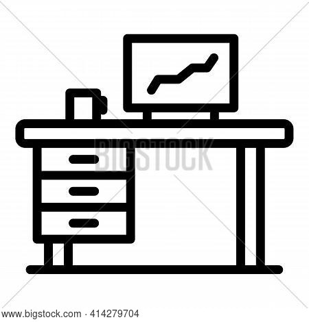 Organized Workplace Icon. Outline Organized Workplace Vector Icon For Web Design Isolated On White B