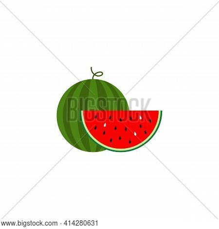 Colored Icon Of Watermelon And Watermelon Slice Sign. Vector Illustration Eps 10
