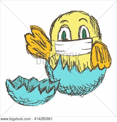 Little Newborn Baby Chick In Eggshell With Medical Protective Face Mask. Vector Kids Character. East