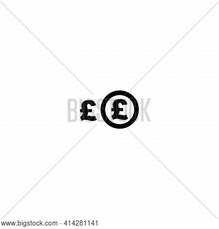 Black Icon Of Money Sign, Pound Currency. Vector Illustration Eps 10