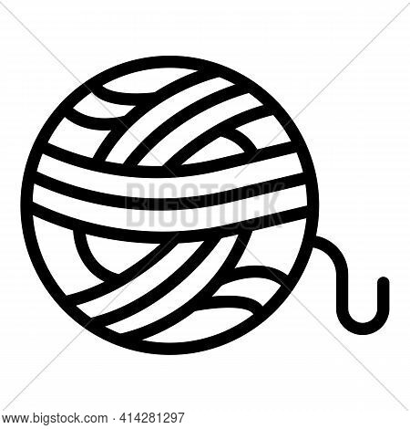 Yarn Ball Icon. Outline Yarn Ball Vector Icon For Web Design Isolated On White Background