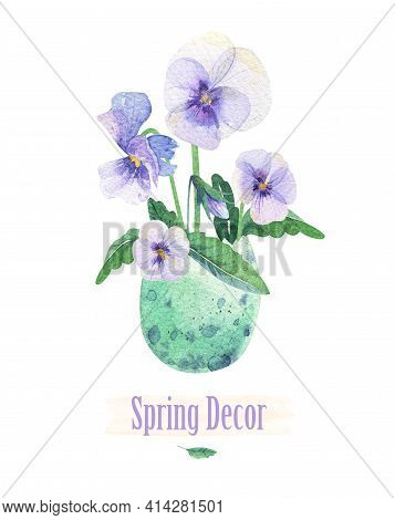 Flowers In An Eggshell. Spring Viola. Watercolor Vase Egg. Easter Decor