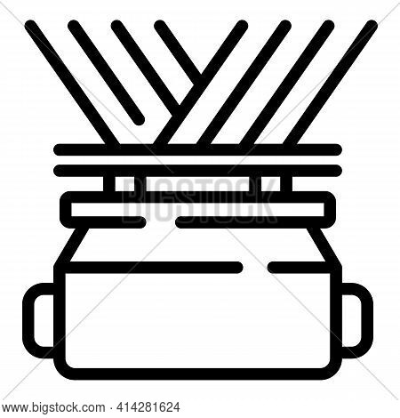 Thread Fabrication Icon. Outline Thread Fabrication Vector Icon For Web Design Isolated On White Bac