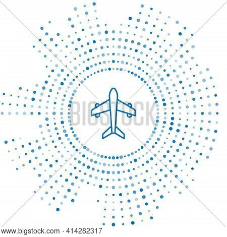 Blue Line Plane Icon Isolated On White Background. Flying Airplane. Airliner Insurance. Security, Sa