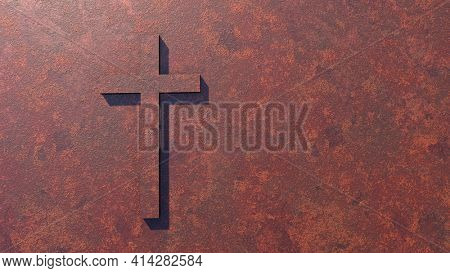 Concept or conceptual cross on a  rusted corroded metal or steel sheet background. 3d illustration metaphor for God, Christ, Christianity, religious, faith, holy, spiritual, Jesus, belief