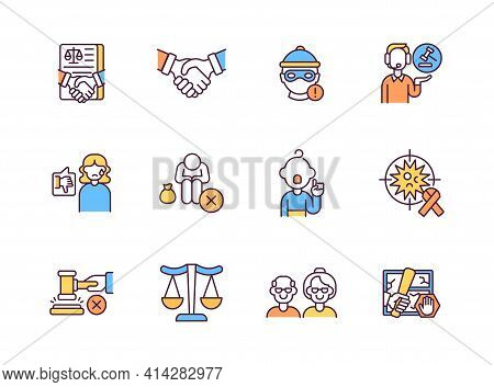 Legal Services Rgb Color Icons Set. Judgement For Criminals And Crimes That They Done. Fighting For