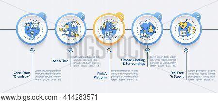 Video Dating Tips Vector Infographic Template. Pick Dating Platform Presentation Design Elements. Da