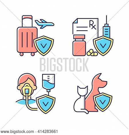 Insurance And Protection Rgb Color Icons Set. Reimbursement For Expenses. High Medicative Costs. Cri