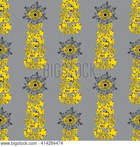Abstract Dandelion Seeds Seamless Vector Pattern Background. Yellow Grey Backdrop With Tall Stylized
