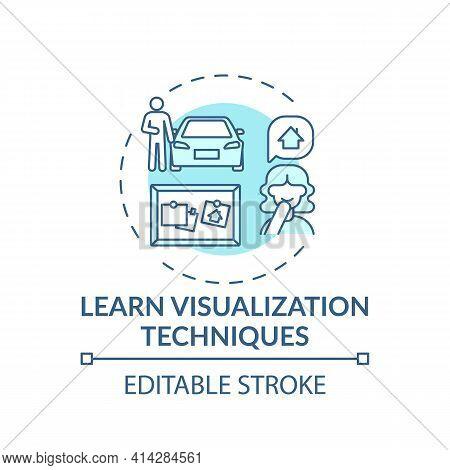 Learn Visualization Technique Turquoise Concept Icon. Strategy For Motivation. Achieve Goal. Self De