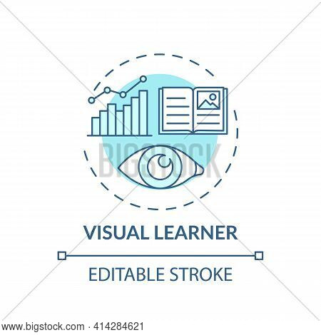Visual Learner Turquoise Concept Icon. Learning Method With Pictures. Self Development, Studying Str