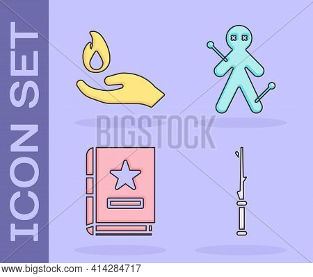 Set Magic Wand, Hand Holding A Fire, Ancient Magic Book And Voodoo Doll Icon. Vector