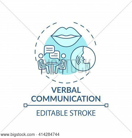 Verbal Communication Turquoise Concept Icon. Conversational Skills. Form Relationships. Self Develop