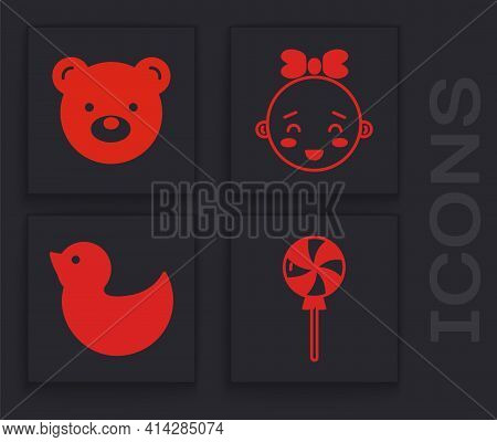 Set Lollipop, Teddy Bear Plush Toy, Happy Little Girl Head And Rubber Duck Icon. Vector