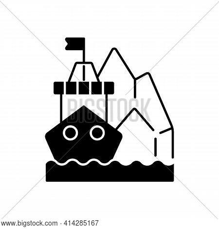Arctic Exploration Black Linear Icon. Polar Regions Exploration. Undisturbed Marine Spaces On Earth.