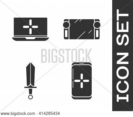 Set Smartphone And Playing In Game, Laptop, Sword For Game And Portable Video Game Console Icon. Vec