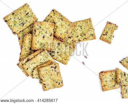 Dry Crackers Isolated On White Background. Cracker Cookies With Herbs Top View..