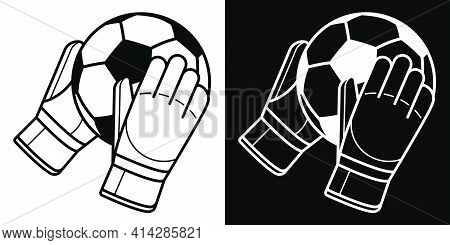 Goalkeeper Gloved Hands Are Holding Soccer Ball. Soccer Goalie Protective Gear. Isolated Vector On W